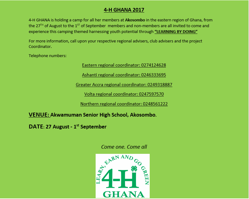 2017 NATIONAL ANNUAL 4-H YOUTH CAMP